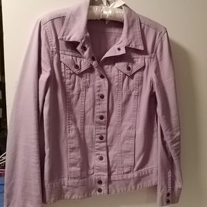 Peck and Peck lavender jean jacket, size small.